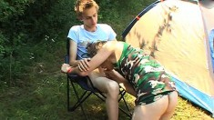 Skinny gay lovers enjoy an intense bareback adventure in the outdoors