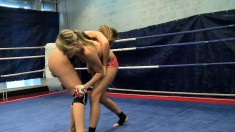 Debbie White and Blue Angel wrestle naked and move to the sweet spot