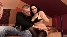 Cock-hungry Liza takes a humongous fuck stick in her skilled mouth