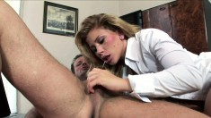Stacked Blonde Secretary Brings Her Wild Office Fantasies To Reality