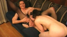 Two lusty grannies bend over to let in some hot black man meat