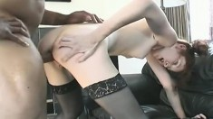 Naughty schoolgirl with pigtails seizes the chance to fuck a dark pole