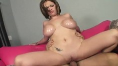 Big breasted blonde expresses her passion for hard meat and hot semen