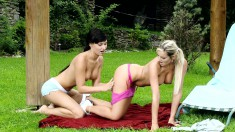 Ravishing young nymphos explore their lesbian desires in the garden