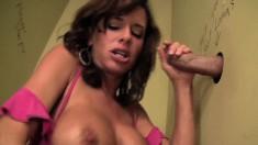 Gorgeous Veronica Avluv loves sucking dicks through glory holes