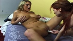 Horny blonde and redhead have a hot lesbian encounter after their shower