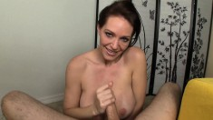 Stacked brunette milf offers a hung stud a special handjob POV style