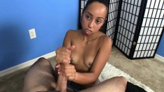Dark Skinned Cutie Gets Down On Her Knees And Jacks Off A Long Prick