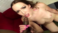 Audrey Elson puts her curves on display and enjoys a huge black stick