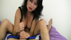 Slutty brunette with tiny tits causes a cum geyser with her skillful handjob
