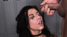 Foxy brunette gets two dicks in her ass at once and a messy facial