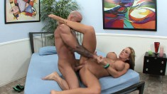 Cheating blonde wife with big boobs is in need of an intense fucking