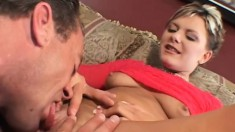 Sultry British housewife has a hung guy licking and drilling her peach