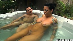 Fascinating brunette spend time with a stranger in a hot bath