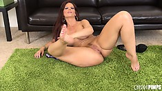 Syren De Mer puts a toy in her ass while caressing her sweet twat