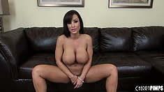 Curvaceous donah with impressive breasts Lisa Ann takes different positions