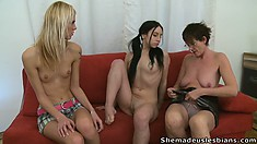 LolaandLisa please each other's nipples and cunts while the old lady pleases herself
