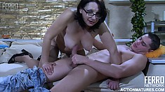 Chubby secretary keeps her glasses and stockings on during sex