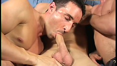 All American stud meets a couple of horny gays and joins for a threesome