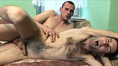 Hot cocksucker can't get enough of his lover's cock drilling his ass bareback