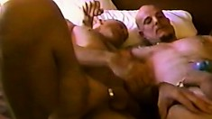 His toned ass gets filled by his bald lover's hard throbbing cock