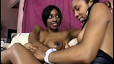 Two cute ebony lesbians allow desire and excitement to take control of their actions