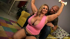 Gigantic blonde bitch tries to lose some weight by fucking hard