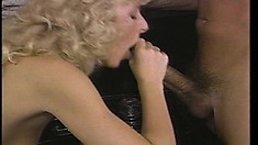 Slender blonde offers her man a great blowjob and then rides his cock