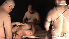 A bunch of old gay dudes get together for an ass fucking orgy