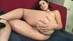 Charming brunette exposes her sweet body and reveals how much she enjoys a black rod
