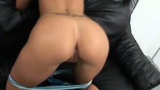 Risky babe gets her ass oiled and pussy fucked really hard by hot rod