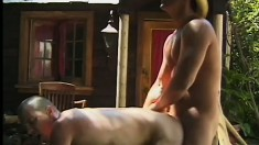 Hot, muscled cowboy gets bathed and sucked before fucking some ass