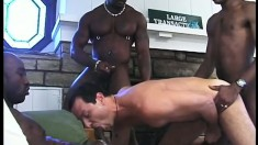 Submissive White Guy Gets Roughed Up By A Trio Of Sporty Black Men