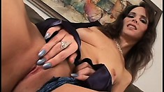 Sensual brunette milf Syren has a young stud drilling her needy cunt