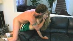 Fresh young Raven takes some cum in her snatch from an old dude