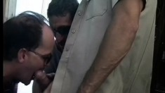 Dirty policeman wants his dick cleaned by a pair of willing mouths