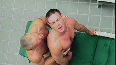 Muscled gay studs fulfill their desires and fantasies by the pool