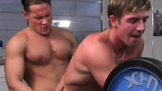 Happy gay boy is getting his lovely dick caressed, licked and sucked