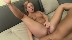 Busty blonde bitch is left with her ass wide open after some rough sex