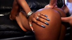 Ebony hooker sucks cock in the driveway then fucks with her thong