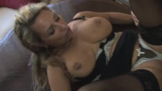 Big tit mature slurps on his rod and gets licked before he drills her
