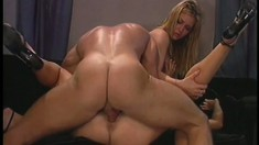 Blonde hotties Hannah and Avy get their asses fucked by a muscled stud