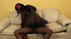Ravishing ebony babe with a superb ass Taquila madly rides a black cock
