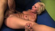 Alluring blonde with a perky ass Payton spreads her sexy legs and gets drilled deep
