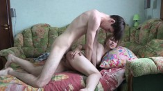 Long-legged young babe gives her sweet ass up for heavy pounding