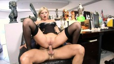 Short haired blonde slut in stockings gets a deep ass-fucking