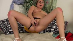 Ellen Deangelo Lets Her Fingers Get Started Then Pulls Out Her Dildo