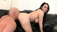 Buxom milf tongues her lover's anal hole and worships his large prick