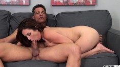 Beautiful redhead Ashlee gets her hairy pussy licked and fucked good