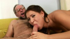Older dude with glasses enjoys fucking a sensual young piece of ass